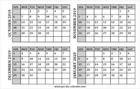 Blank Dec 2020 Calendar Oct Nov Dec 2019 And Jan 2020 Calendar Fillable Editable