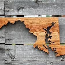 maryland state shape wood cutout wall art handcrafted from repur