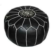 Black And White Pouf Badia Design Leather Moroccan Pouf Shop Vanillawood