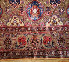 beautiful and rare finely woven antique silk and metalic thread persian souf kashan rug country of