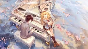 anime music wallpaper piano. Unique Piano Anime Girl Boy Couple Music Piano Petals Blonde Wallpaper Intended Anime Music Wallpaper Piano A