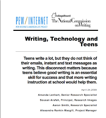the current writing technology and teens