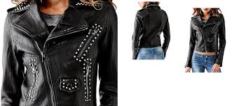 womens black studded leather moto jacket nhbgtre zoom helmet