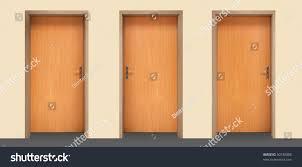 Office interior doors Gray Modern Interior Three Wooden Doors Office Interior Pinterest Three Wooden Doors Office Interior Stock Photo edit Now 50748088