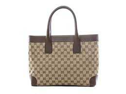 gucci bags tote. authentic gucci signature gg monogram \u0026 brown leather shoulder bag tote bags