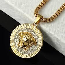 details about vintage hip hop 18k gold plated medusa necklace chain pendant bling rapper