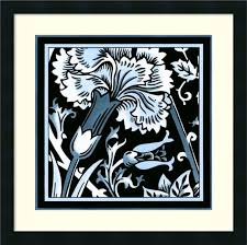framed art print blue white fl motif i by vision studio 22 x22 contemporary prints and posters by amanti art