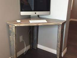image of rustic corner desk accessories