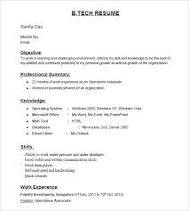 Standard Resume Format For Freshers B Tech Fresher Template Computer