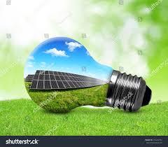 Green Energy Lighting Solar Panels Light Bulb Green Energy Stock Photo Edit Now