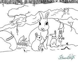 Coloring is a fun way for kids to be creative and learn how to draw and use the colors. Rabbit Coloring Page Etsy