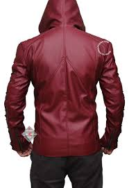 red hooded jacket nal leather jacket