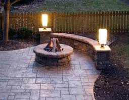 stamped concrete patio with square fire pit. Patio Gas Fire Pit Stamped Concrete Stone Walls And Lighting Traditional  Corinthian Square Lp Table Ligh With I