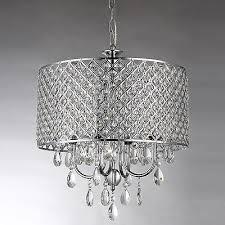 marya 4 light round drum crystal chandelier ceiling fixture chrome finish
