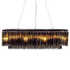 chrome smoked glass prism drop cascade chandelier