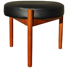Round Teak Ottoman or Stool by Spottrup with Tripod Base at 1stdibs