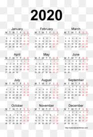 2020 Calendar Png And 2020 Calendar Transparent Clipart Free