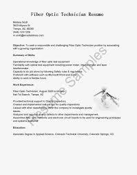 Fiber Optic Cable Technician Sample Resume Engineer Example Sle