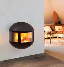 contemporary wood burning wall mounted fireplace