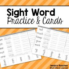 Dolch Second Grade Sight Words Flash Cards Sight Word Practice Cards Dolch List