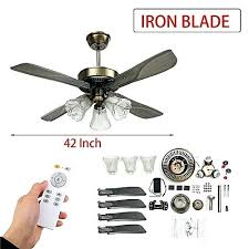 inch led ceiling fan for living room fans with lights cooling remote 42 light flush mount
