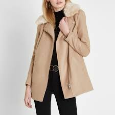 women s river island camel biker faux fur collar coat cream rfe7iqzzmp