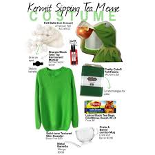 remember that meme with kermit the frog drinking tea you know the one everyone uses to be sly why not be him grab any green shirt put on some jeans and