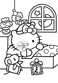Small Picture Hello Kitty Ready to Sleep coloring page for kids for girls