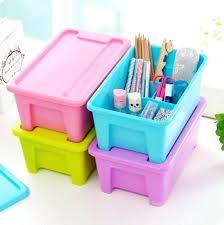 desktop free partition storage box with lid plastic toy organizer minnie mouse plastic toy organizer