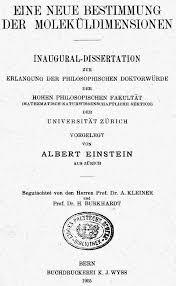 perevod Текст докторской диссертации Альберта Эйнштейна Текст докторской диссертации Альберта Эйнштейна