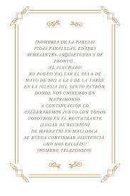 formato de invitaciones de boda textos para invitaciones de boda originales y clasicos entre bellas