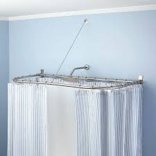 double curved shower curtain rod tension track rail bar brushed nickel