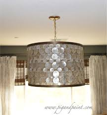 capiz shell lamp shade and drum chandelier with hanging lighting fixture also capiz shell chandelier and curtain ideas with bamboo shades plus curtain rods