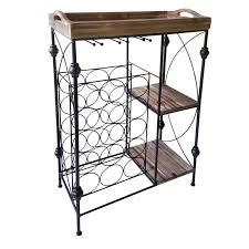 wood metal wine rack. Exellent Rack Metal Wine Rack Wood Bar Tray 23 X 37 And E