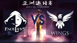 eng faceless vs wings live bo2 dota 2 asia championships