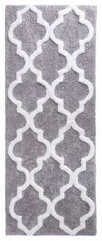 lavish home 100 cotton trellis bathroom mat 24x60 inches silver