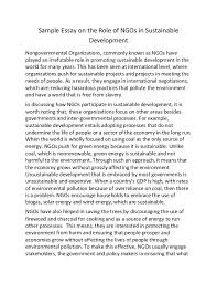 sample essay on the role of ng os in sustainable development sample essay on the role of ngos in sustainable development nongovernmental organizations commonly known as
