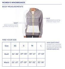 Womens Windbreaker Size Chart Janji