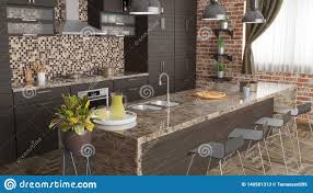 Modern Kitchen With Industrial Lamps And Bar Chairs 3d