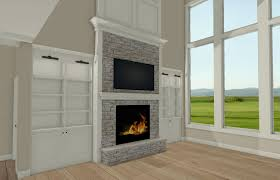 great room fireplace wall with symmetrical built ins and tv above fireplace