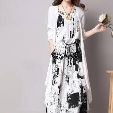 Casual Loose Plus Size Chinese <b>Ink Printing</b> Maxi <b>Dresses</b> With ...