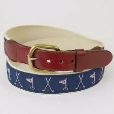 details about leather man ltd canvas blue golf print leather belt 18 holes men s 34