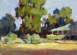 trees house sky plein air oil painting by tom brown