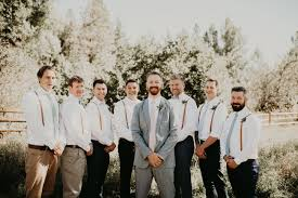 Groom Light Grey Suit Picture Of The Groom Was Wearing A Light Grey Suit With A