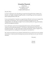 Secretary Resume Cover Letter Best Legal Secretary Cover Letter Examples LiveCareer 2