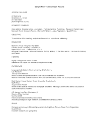 Sample Plain Text Resume Plain Text Resume Sample For Receptionist 1