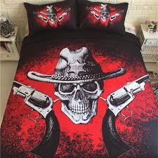 skull and pattern bed sheet black and red duvet cover sets for king queen size bed europe style set luxury home textile king bedspread sets full duvet