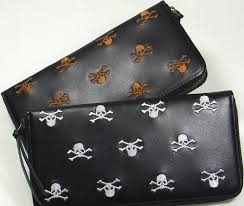 skull general embroidery leather long wallet embroidered leather long