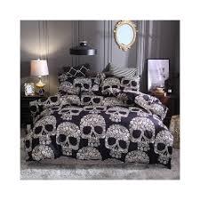bonenjoy black color duvet cover queen size luxury sugar skull bedding set king size 3d skull beddings and bed sets size twin 2pcs