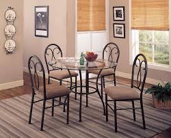 Metal Kitchen Table And Chairs Coaster 120565 5 Piece Round Glass Top Black Metal Dining Table Set